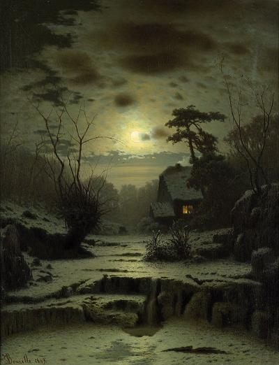 House in the light of the moon